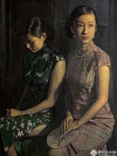 陈逸鸣油画作品:仕女系列-1 - 无语 2011年作 作品尺寸:255*190cm