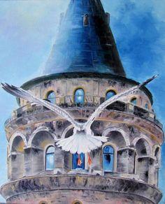 Galata Tower, painted by Berrin Duma.