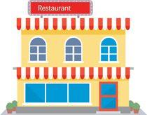 Restaurant building clipart  Cartoon classroom building back to school poster vector graphics ...