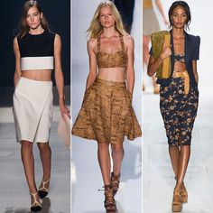 Fancy Flashers: Turns out crop tops aren't going anywhere. Midsections were out on display this Fashion Week, exposing the entire stomach or a simple sliver. Plan on renewing your gym membership; trust us. From left: Narciso Rodriguez, Diane von Furstenberg, Michael Kors