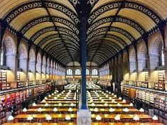 The Reading Room of Bibliothèque Sainte-Geneviève Garden Art, Home And Garden, Beautiful Library, 12th Century, Nature Paintings, Reading Room, Running Away, Architecture Design, Google