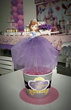 Centro de mesa Princesa Sofia con tul e impresión