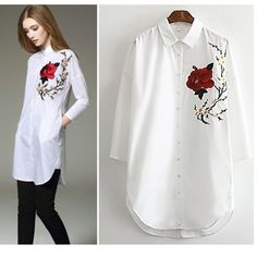 (PRE ORDER) ROSE EMBROIDERY LONG SHIRT