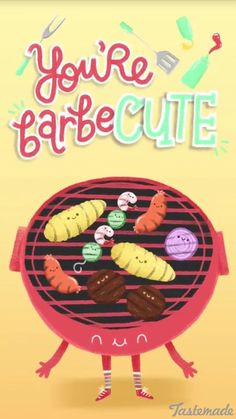 Cute and yummy barbeque! Funny Food Puns, Punny Puns, Cute Jokes, Food Humor, Love Puns, Funny Love, Funny Cards, Cute Cards, Valentines Puns