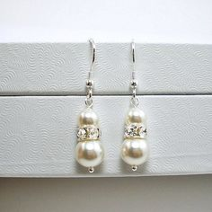 Wedding Pearl Dangle Earrings, Sterling Silver