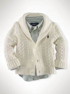 Cable Shawl-Collar cardigan Ralph Lauren, he looks so much older in this sweater, matches with Daddy's Fashion Kids, Baby Boy Fashion, Toddler Fashion, Baby Boy Swag, Baby Boys, Toddler Boys, Infant Boys, Baby Outfits, Kids Outfits