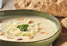 Pot o' Gold Soup - a creamy, cheesy potato-based with Holland lager, corned beef and cabbage