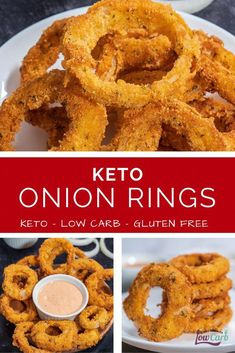 Keto Onion Rings Onion rings are a favorite appetizer and side dish. This delicious recipe is good for all, especially those on keto and low-carb diets. It is also gluten free and may become. Low Carb Diets, Carb Free Foods, Best Low Carb Meals, Keto Meals Easy, Carb Free Meals, Low Carb Food, Keto Recipes Dinner Easy, Carb Free Snacks, Carb Free Recipes