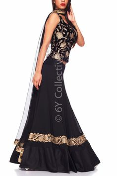 Black Georgette Lehenga with Embroidery