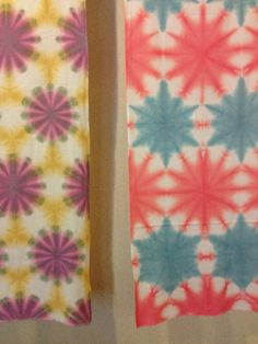 Great color combinations in these two shibori pieces