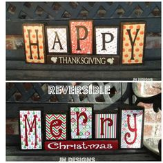 Reversible Christmas and Thanksgiving blocks, Happy Thanksgiving reverses with Merry Christmas wood blocks Reversible Christmas and Thanksgiving wood by BuzzingBeesCrafts Christmas Blocks, Christmas Wood Crafts, Thanksgiving Crafts, Christmas Projects, Fall Crafts, Holiday Crafts, Crafts To Make, Christmas Diy, Happy Thanksgiving