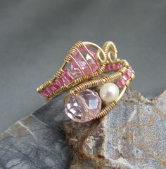 Adjustable Wire Wrap Gemstone Ring Pale Pink Crystal ♥ by studiodct