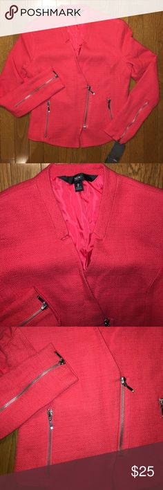 Zippered blazer career jacket NWT Women's zippered blazer style career jacket. NWT! Size 2. Zippers on front, pockets and arm sleeves. Very cute and stylish. A few smalls snags on front and sleeve but nothing noticeable. Mossimo Supply Co. Jackets & Coats