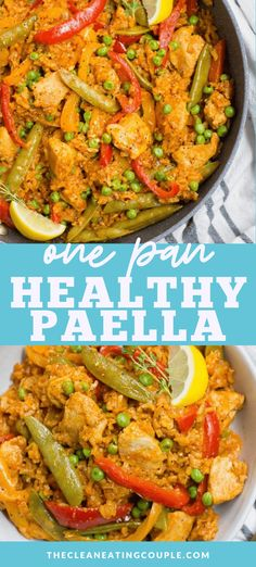 This One Pan Healthy Paella recipe is a quick delicious dinner! This easy paella is packed with chicken for protein veggies whole grain brown rice making it the perfect dinner or meal prep recipe! You can make it with seafood or keep it vegetarian too! Healthy Grilled Chicken Recipes, Healthy Gluten Free Recipes, Vegetarian Recipes, Chicken Paella Recipe Easy, Diabetic Recipes, Paleo, Easy Healthy Dinners, Healthy Meal Prep, Healthy Dinner Recipes