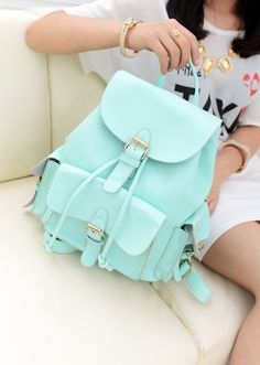 "Unique College Style Nice Mint Green Backpack&Shoulder Bag  Material:PU  Size: Width: 23Cm(9.06"" ) Heigth: 32CM (12.60"" ) Thick: 12CM(4.72"" )  Style:Sweet  Construction: Handle top. Adjustable strap. Fold over flap with buckle snap closure. Drawstring closure. Three exterior pockets with ..."