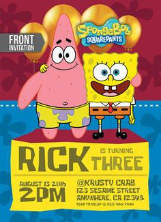 Spongebob Invitation Spongebob Birthday by TemplateMansion on Etsy