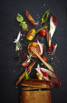 I love the explosion of elements in this one, I think we could get creative with our styling to replicate things like this with certain dishes. The contrast is nice but I think it is a little over used.