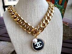 Chanel Logo Vintage Button 18K Gold Plated Curb by CelebrityTrendz, $124.00