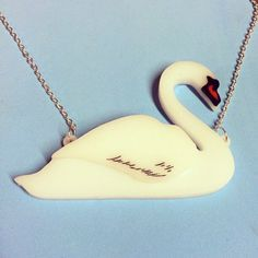 Acrylic Perspex Laser Cut etched and inked Swan necklace