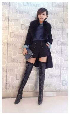 Thigh High Boots, High Heel Boots, Cute Fashion, Asian Fashion, Winter Boots Outfits, Sexy Boots, Beautiful Asian Women, Sexy Asian Girls, Cute Woman