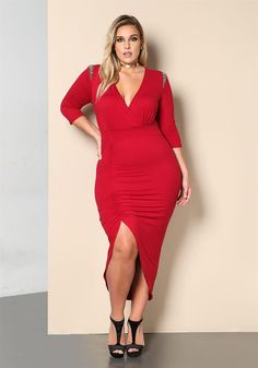 Plus Size Clothing   Plus Size Shoulder Beaded Ruched Midi Dress   Debshops