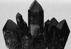 Black crystals.