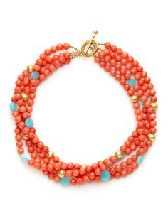 KEP Coral, Peruvian Opal, & Gold Bead Multi-Strand Necklace
