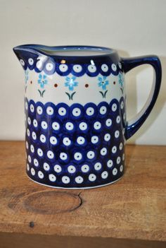 Boleslawiec Pottery - Polish Pottery Pitcher - Syrup - Water Pitcher - Creamer - Folk Art Pottery  Blue White Pottery -  Hand Made Poland