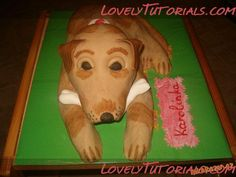 carved 3D dog cake tutorial