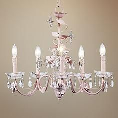 """Pink Flower and Crystal 20"""" Wide Chandelier"""