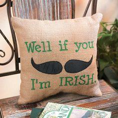 Irish Mustache Throw Pillow - TerrysVillage.com