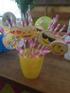 Emoji party straws. We made these for my daughters 10th b-day party using cutouts of emojis, straws & dab from the hot glue gun. Quick, easy & cute!