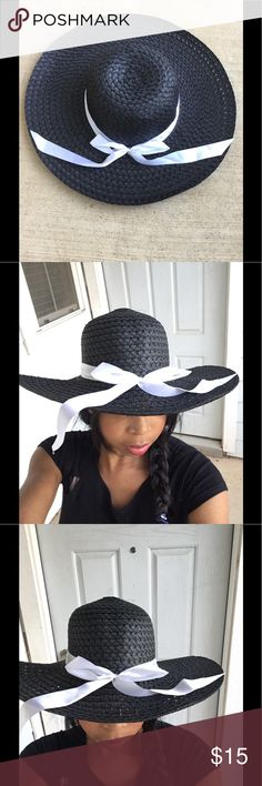 Black floppy Hat Gorgeous floppy Hat with a ribbon that adds a pop of white color. Very chic. Accessories Hats