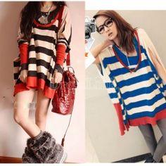 $12.56 Women's Striped Long Sleeve Casual Cute Loose Girl Cape Cloak T-shirt Knitted Sweater