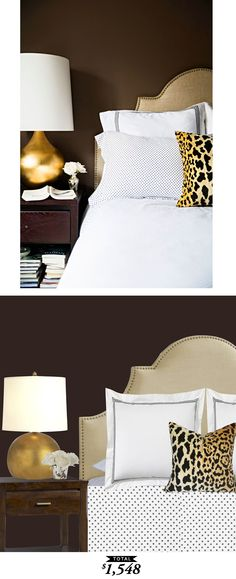 A dark and glamorous guest bedroom by Paloma from La Dolce Vita recreated for only $1548 by @audreycdyer for Copy Cat Chic