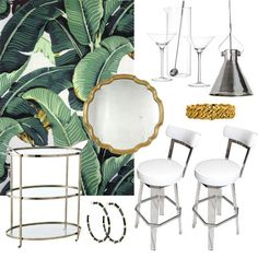 [image above, clockwise from top left: palm leaf wallpaper,martini set $18, pendant lamp $368, chain link bracelet $115, Lucite and leather vintage stools $3800 for set of 3, hoop earrings $75, nickel bar cart $1000, vintage brass mirror $2200]