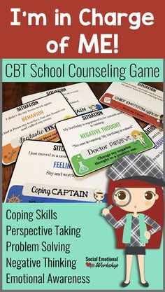 A cognitive behavioral therapy (CBT) game for small group counseling designed to teach elementary students key cognitive behavioral skill such as identifying triggers, negative thoughts, helpful coping skills, and the impact of their behavior. This is a beginning set to help students practice new counseling skills with engaging characters that will help students connect with each skill and want to practice. Students will have an opportunity to practice coping skills, problem solving…