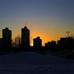 it was just plane cold, egg yolk sunset along with long evening shadows :) #Winter #Sunset #Chicago #Colors