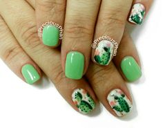 Cactus nails. Green nails. PHOENIX ARIZONA :D #PreciousPhanNails