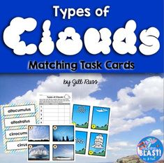 Spice up your weather or water cycle unit with these beautiful task cards showing eight common types of clouds. Your students will learn about cumulus, cirrus, stratus, altocumulus, altostratus, cirrocumulus, cumulonimbus, and stratocumulus cloud formations.