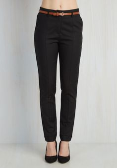 Situationally Savvy Pants in Black. With a business lunch, a multitude of meetings, and date night all on the agenda, these black pants will have you looking like youve dressed specially for each occasion! #black #modcloth