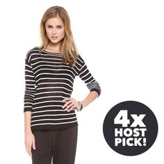 """🎉 ALICE + OLIVIA Striped Sweater alice + olivia by stacey bendet ottoman linen blend boxy sweater   ⠀† medium  ⠀† allover raised black w/ slim white stripe ⠀pattern  ⠀† scoop neck  ⠀† long sleeves  ⠀† approximate 24"""" length ⠀† 91% linen, 8% polyamide, 1% spandex ⠀† dry clean  ⠀† new with tags  host pick! ⠀1.11.16 › cozy chic  ⠀5.16.16 › work week chic ⠀9.7.16 › style crush  ⠀1.21.17 › winter wardrobe  disclaimer: ⠀✗ i do not trade ⠀✗ no lowballing ⠀✓  i'm open to reasonable offers ⠀✓  more…"""
