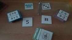 Dit spel is gemaakt om op een leuke manier te oefenen/automatiseren.  Voor het eerste leerjaar is er een set kaarten rond getalbegrip tot 10. Als je nog maar tot 5 aangeleerd hebt, kan je bijvoorbeeld alle kaarten daarboven uit de stapel …