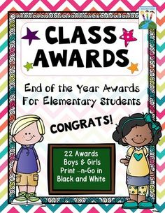 Class Awards for the End of the Year from Heart-2-HeartTeaching on TeachersNotebook.com -  (40 pages)  - Reward your students with these creative and unique classroom award certificates. There are 22 different awards in black and white for easy printing. Just print on colored paper and you're ready to go