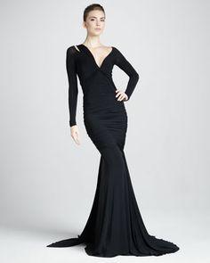 Long-Sleeve Mermaid Jersey Gown, Black by Donna Karan at Bergdorf Goodman.