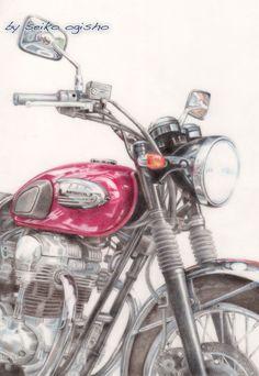 色鉛筆なオートバイ