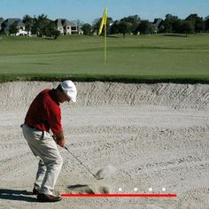Find a practice bunker and work on this drill to achieve a consistent point of entry about two inches behind the ball on sand shots.
