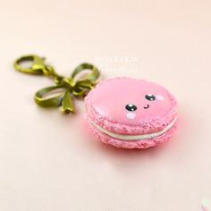 Pink Macaroon Kawaii Keychain Charm Polymer Clay Handmade Jewelry Miniature Food by Sweet Clay Creations