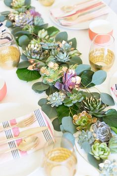 Lovely Indeed shares how to make this striking metal-leafed succulent runner using succulents and greenery from Flower Muse.