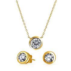 Bling Jewelry Gold Vermeil CZ Bezel Set Round Solitaire Necklace Earrings Set